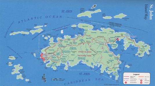Map of Saint John, U.S. Virgin Islands